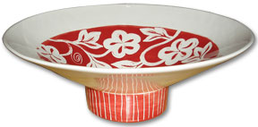 Red and White Designed Bowl